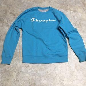 Small light blue champion sweatshirt